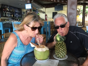 "Mom & Dada going ""Coco Loco"" at the beach bar"